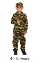 Child Army Soldier Fancy Dress Costume 4 - 6 yrs