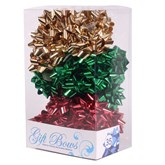 Red, Gold & Green Metallic Galaxy Bows 35pk