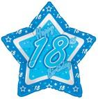Blue 18th Birthday Star Foil Balloon