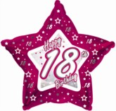 18th Birthday Pink Star Foil Balloon 18""