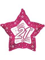 "21st Birthday Pink Star Foil Balloon 18"""