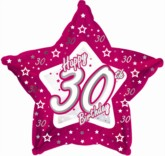 30th Birthday Pink Star Foil Balloon 18""