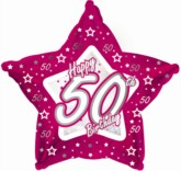 50th Birthday Pink Star Foil Balloon 18""