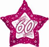 "60th Birthday Pink Star Foil Balloon 18"""
