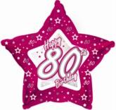 "80th Birthday Pink Star Foil Balloon 18"""