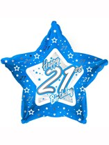 "18"" 21st Birthday Blue Star Foil Balloon"