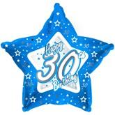 "18"" 30th Birthday Blue Star Foil Balloon"