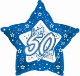 "50th Birthday Blue Star Foil Balloon 18"""