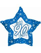"18"" 90th Birthday Blue Star Foil Balloon"