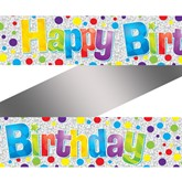 Dotty Happy Birthday Holographic Foil Banner