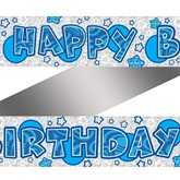 Blue Holographic Happy Birthday Foil Banner