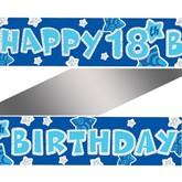 Blue Happy 18th Birthday Foil Banner