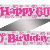 Pink Happy 60th Birthday Foil Banner