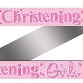 Pink Polka Dot Christening Banner