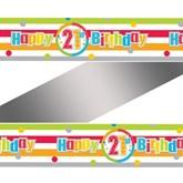 Happy 21st Birthday Rainbow Foil Banner
