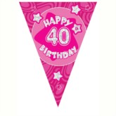 Pink Holographic 40th Birthday Flag Banner