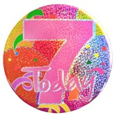 7 Today Pink Balloon Print Holographic Big Badge