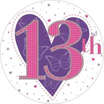 Age 13 Jumbo Heart Big Birthday Badge