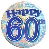 Blue Happy 60th Holographic Big Badge