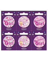 Birthday Girl Small Badges 6pk