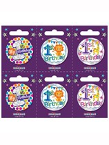 Small 1st Birthday Badges 6pk