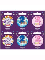 Small 2nd Birthday Badges 6pk