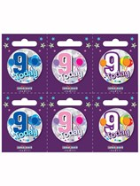 Small 9th Birthday Badges 6pk