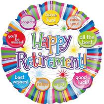 "Happy Retirement 18"" Speech Bubbles Foil Balloon"