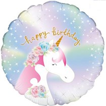 "Pastel Holographic Birthday Unicorn 18"" Foil Balloon"