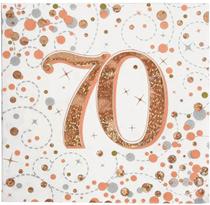Sparkling Fizz 70th Birthday Rose Gold Napkins 16pk
