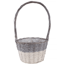 Two Tone 25cm White Wash Basket With Handle