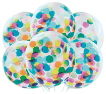 "Pre-Filled Coloured Confetti 12"" Clear Latex Balloons 6pk"