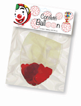 "Clear 3ft (36"") Latex Balloon With Red Heart Confetti"