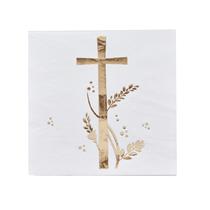 Holy Communion Gold Foiled Cross Napkins 20pk