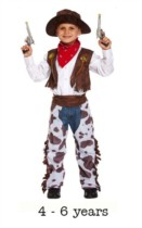 Child Wild West Cowboy Fancy Dress Costume 4 - 6 yrs