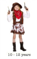 Child Wild West Cowgirl Fancy Dress Costume 10 -12 yrs
