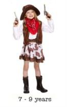 Child Wild West Cowgirl Fancy Dress Costume 7 - 9 yrs
