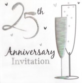 25th Anniversary Invitations with Envelopes - 6pk