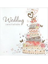 Pink Wedding Cake Wedding Invitations & Envelopes 6pk