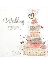 Pink Wedding Cake Wedding Evening Invitations & Envelopes 6pk