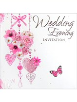 Pink Hearts Wedding Evening Invitations & Envelopes 6pk