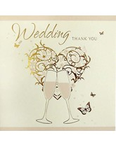 Vintage Gold Wedding Thank You Cards with Envelopes 6pk