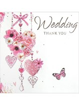 Pink Hearts Wedding Thank You Cards with Envelopes 6pk