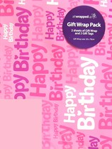Pink Happy Birthday Wrapping Paper Sheets & Tags 2pk