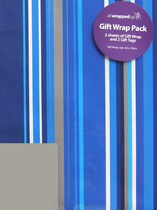 Blue Striped Wrapping Paper Sheets & Tags 2pk