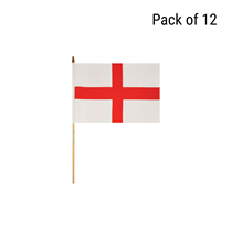 England St George's Cross Hand Flag 12pk