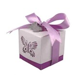 Purple Laser Cut Butterfly Favour Boxes 5pk
