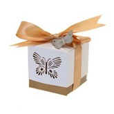 Gold Laser Cut Butterfly Favour Boxes 5pk