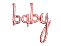 "Rose Gold Baby Script Foil Balloon 29"" x 30"""
