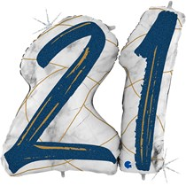 "21st Birthday Blue & Gold Marble 34"" Foil Balloon"
